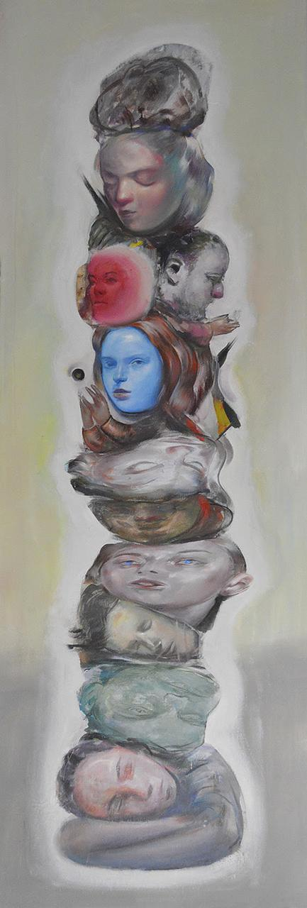 Theofilos Katsipanos, Totem, oil on canvas, 180 x 60 cm, 2016