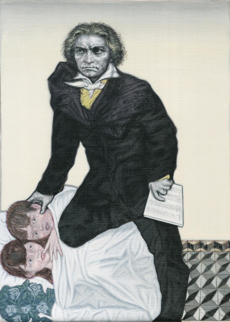 Emmanouil Bitsakis, Severe Beethoven, acrylic on canvas, 18 x 13 cm, 2015