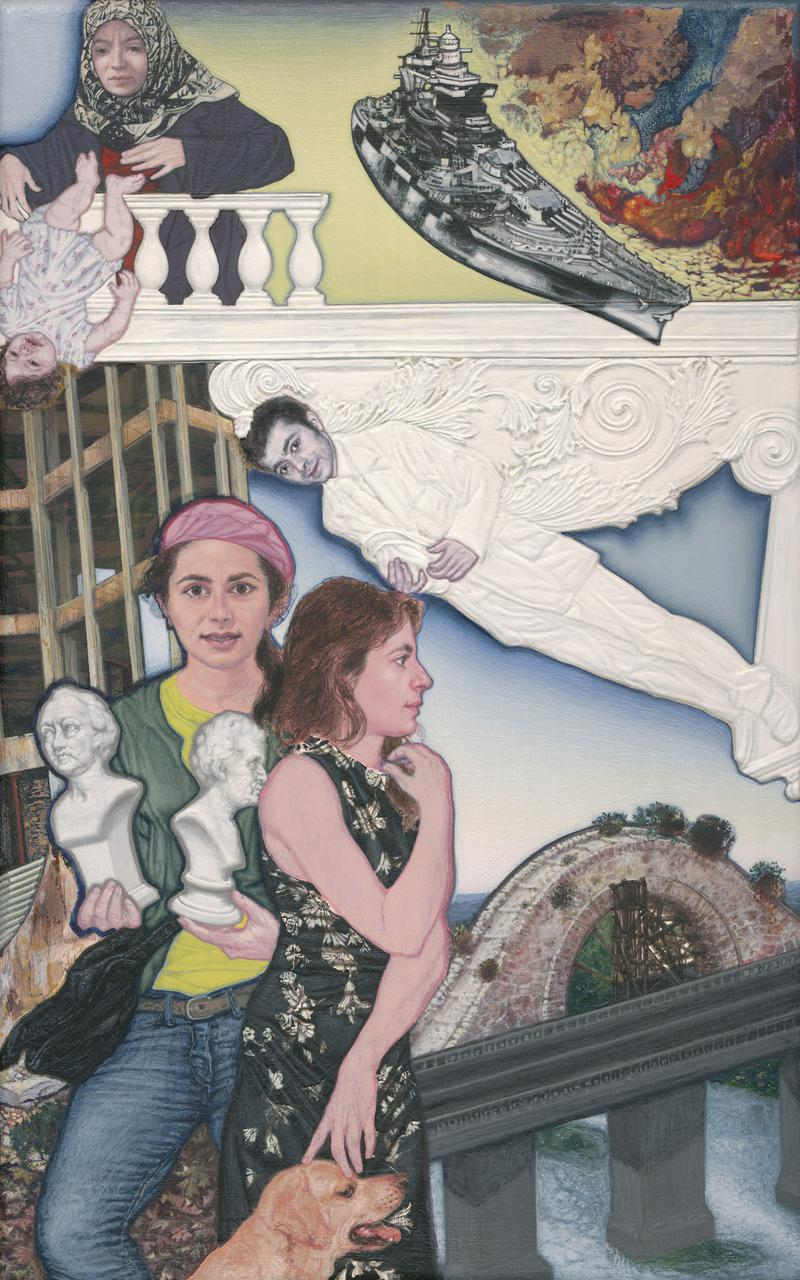 Emmanouil Bitsakis, Neoclassical Balcony, acrylics on canvas, 33 x 21 cm, 2013 - 2016