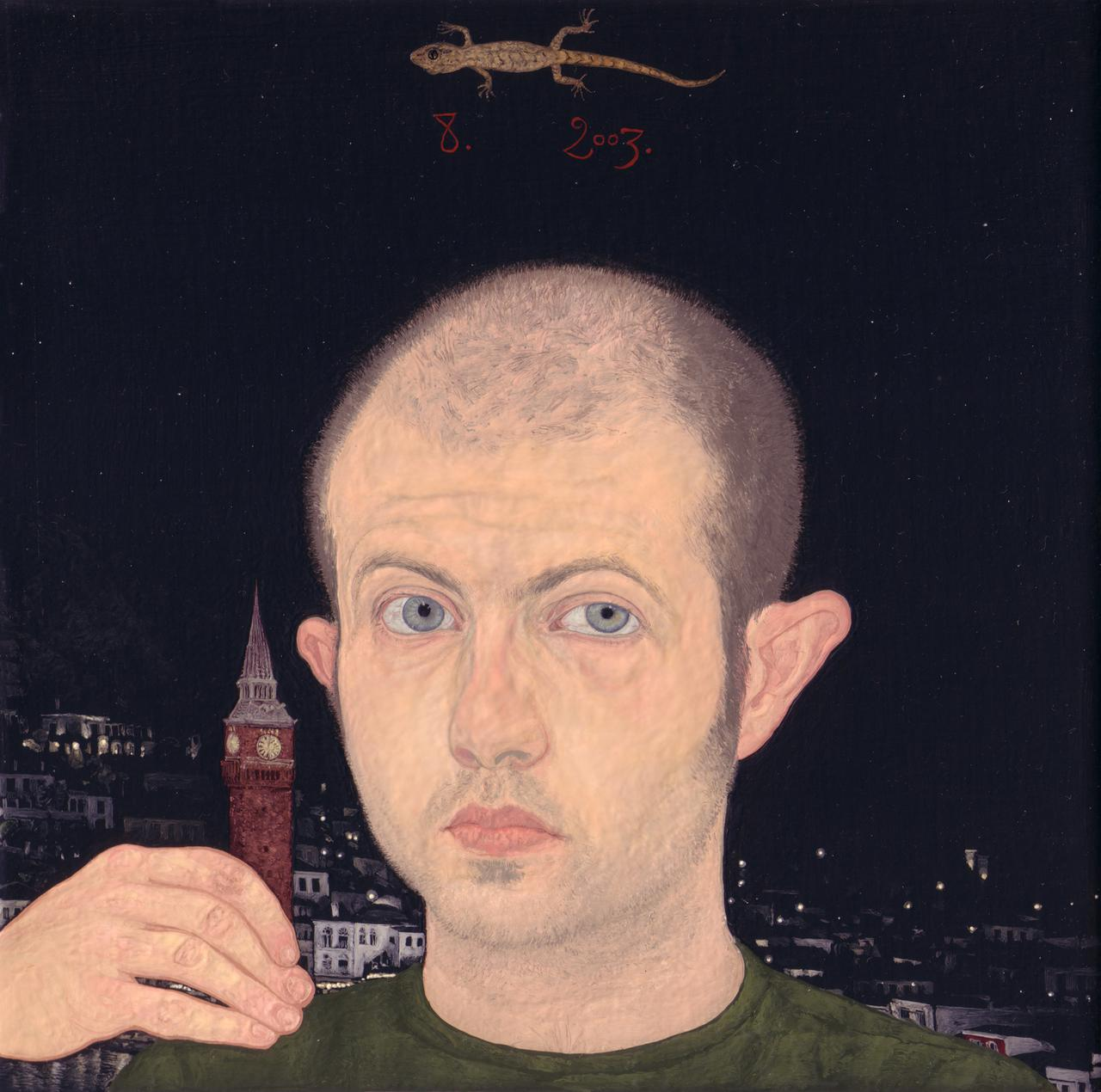 Emmanouil Bitsakis, Self Portrait, oil on canvas, 20 x 20cm, 2003