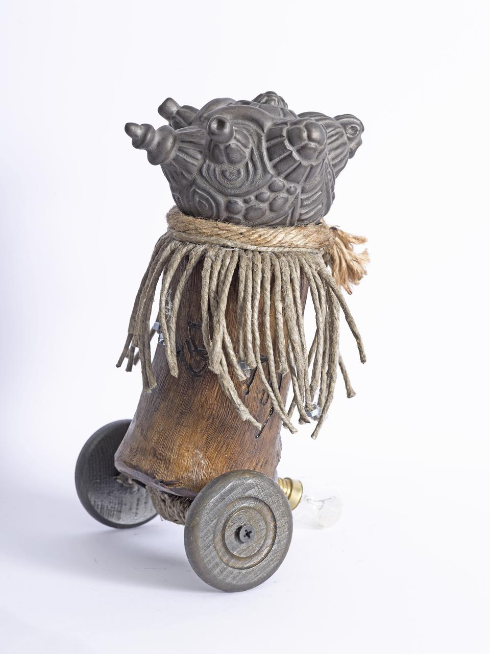 Marios Fournaris, Post-Industrial Artefact  Of The Intercultural Perception N.02,  ceramic, wood, iron, jute, electic bulb, 2016