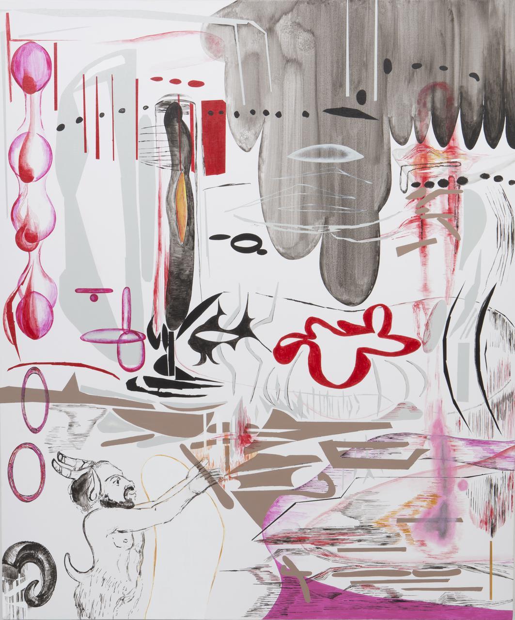 Vana Fertaki, Pan, oil and varnishon canvas, 120 x 100 cm, 2017