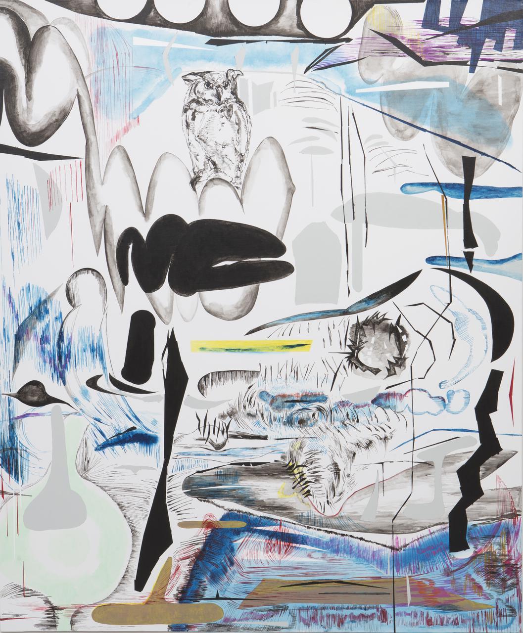 Vana Fertaki, Glaux, oil and varnish on canvas, 120 x 100 cm, 2017