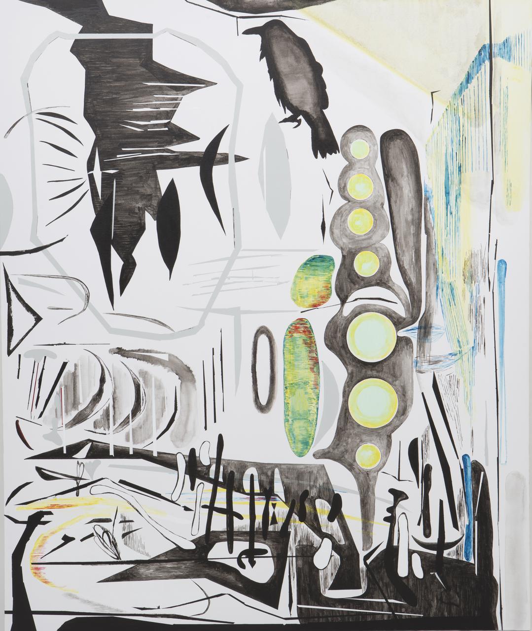 Vana Fertaki, Corax, oil and varnish on canvas, 120 x 100 cm, 2017