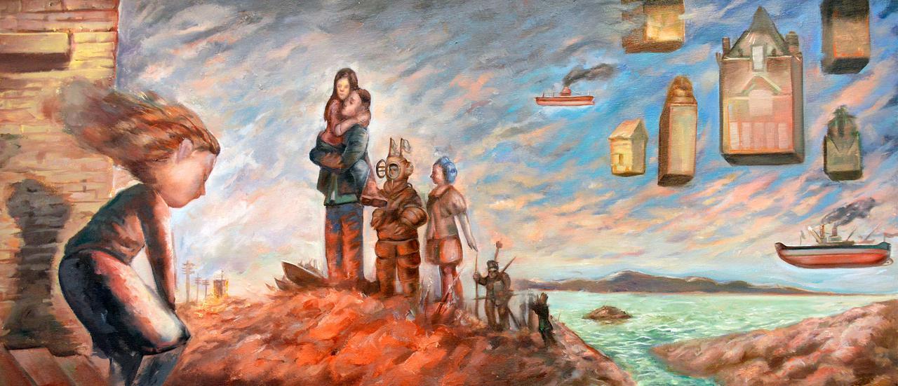 Theofilos Katsipanos, Die Rückkehr, 34 x 78 cm, acrylics and oil on canvas, 2018