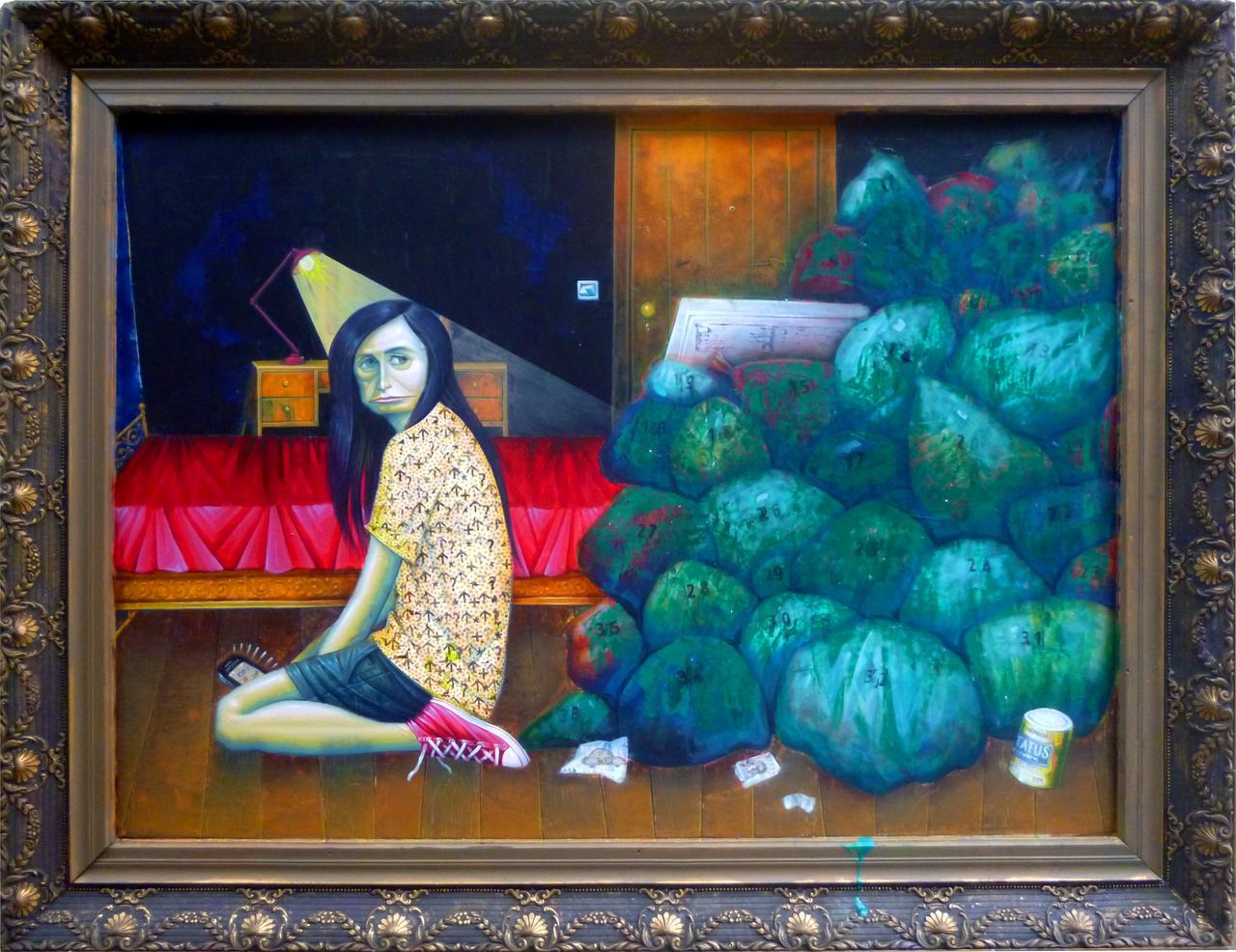 Kostas Lavdas, The Offspring, 92.4 x 71 cm, acrylic, marker, ink on wood