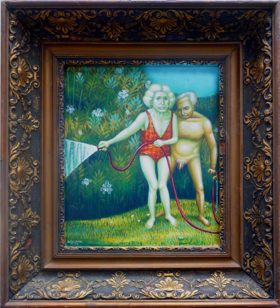 Kostas Lavdas, You Gotta Keep Them Separated 42.5 x 46.5 cm acrylic on wood