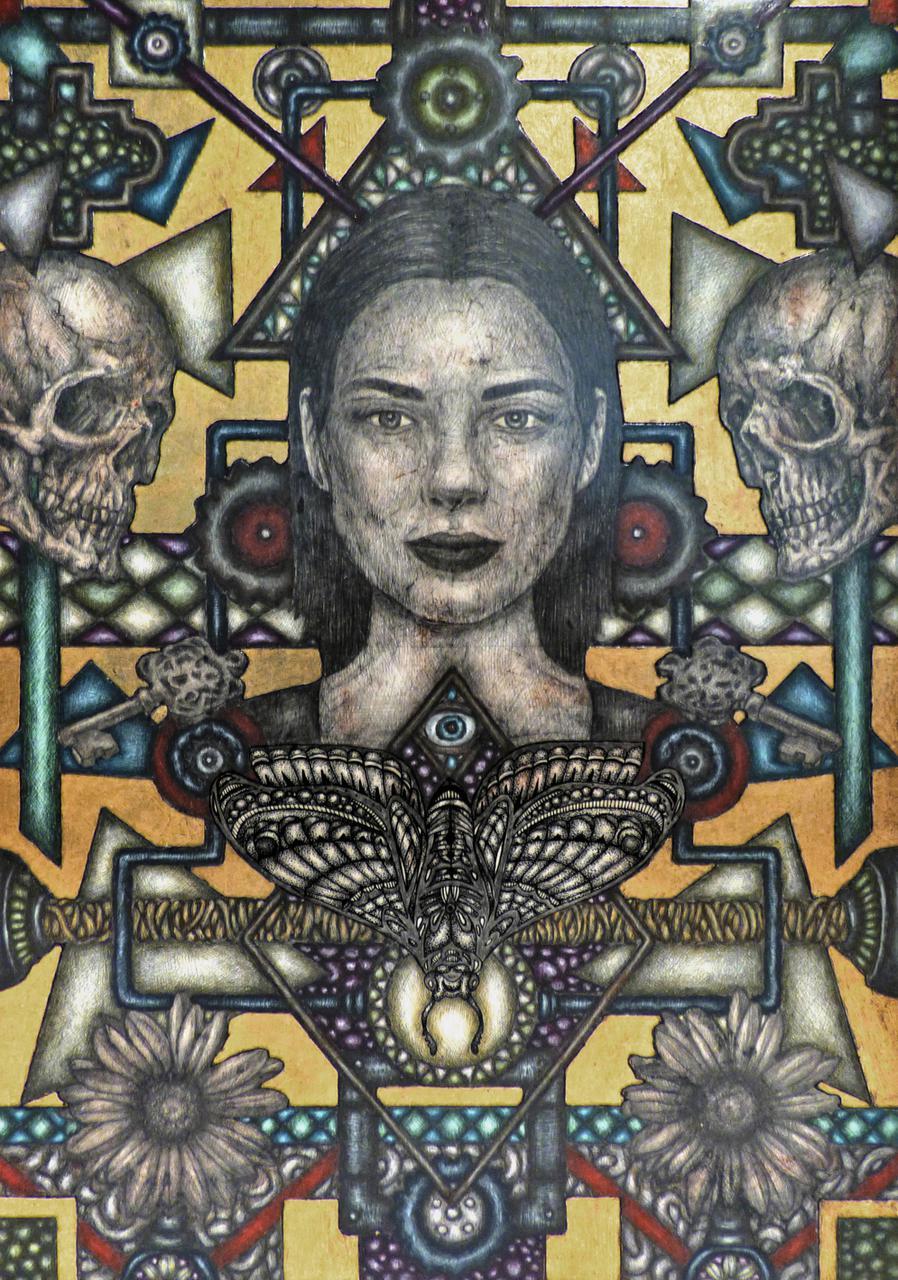 Marios Fournaris, Vanitas 1, 35 x 25 cm, acrylics, pencil, ink and gold 22k on wood