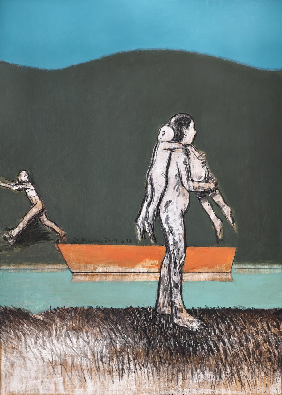 Michalis Manousakis, Untitled, mixed media on wood, 70 x 50 cm
