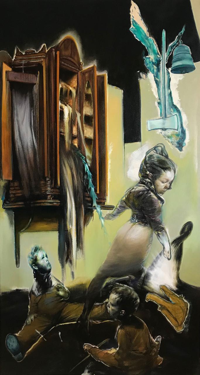 Tassos-Missouras, Untitled, acrylics and oil on canvas, 156 x 84 cm