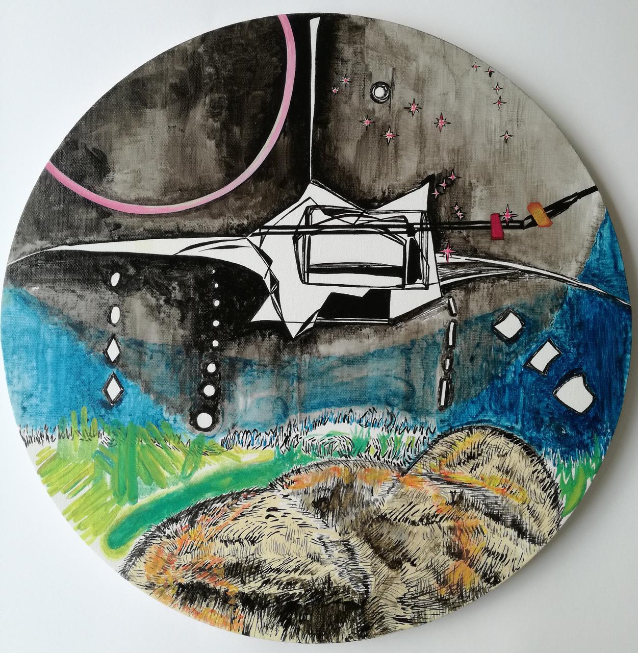 Vana Fertaki, Orion, diameter 45 cm, varnish and oil on canvas