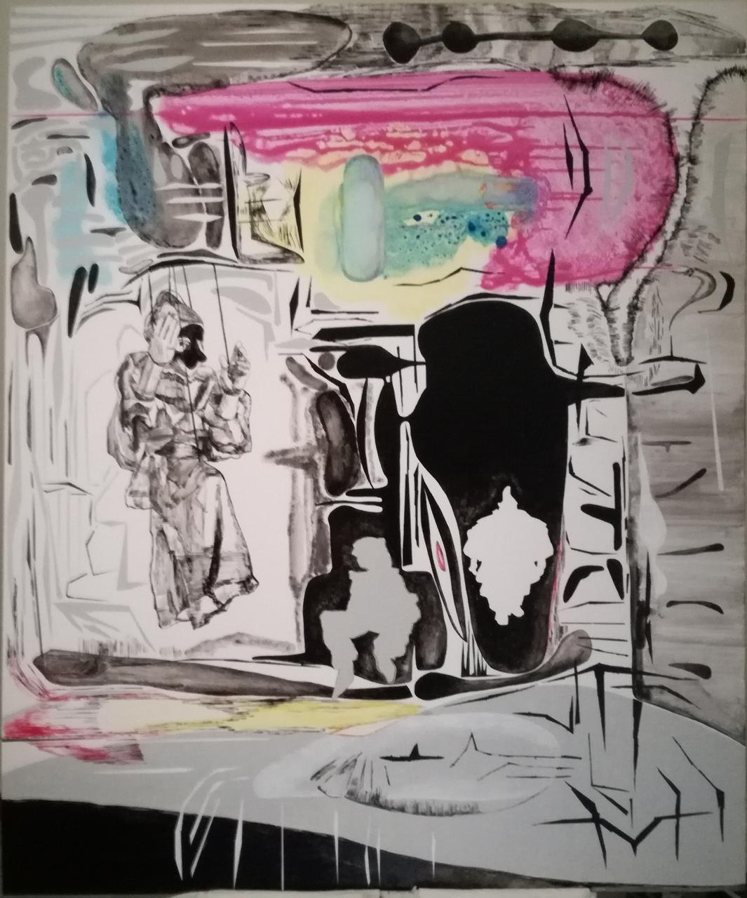 Vana Fertaki, Pulcinella, 120 x 100 cm, varnish and oil on canvas