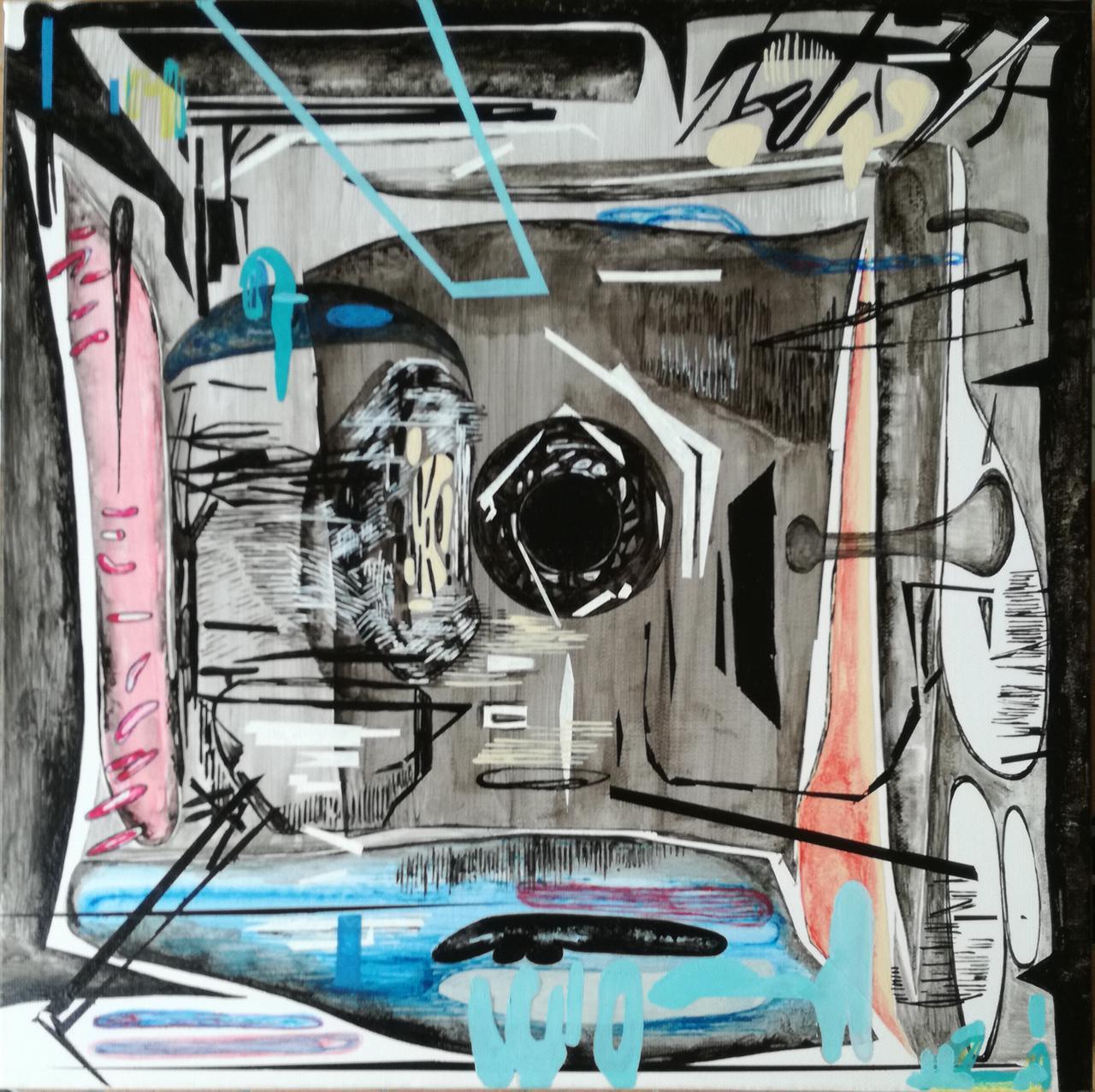 Vana Fertaki, Space, 40 x 40 cm, varnish and oil on canvas