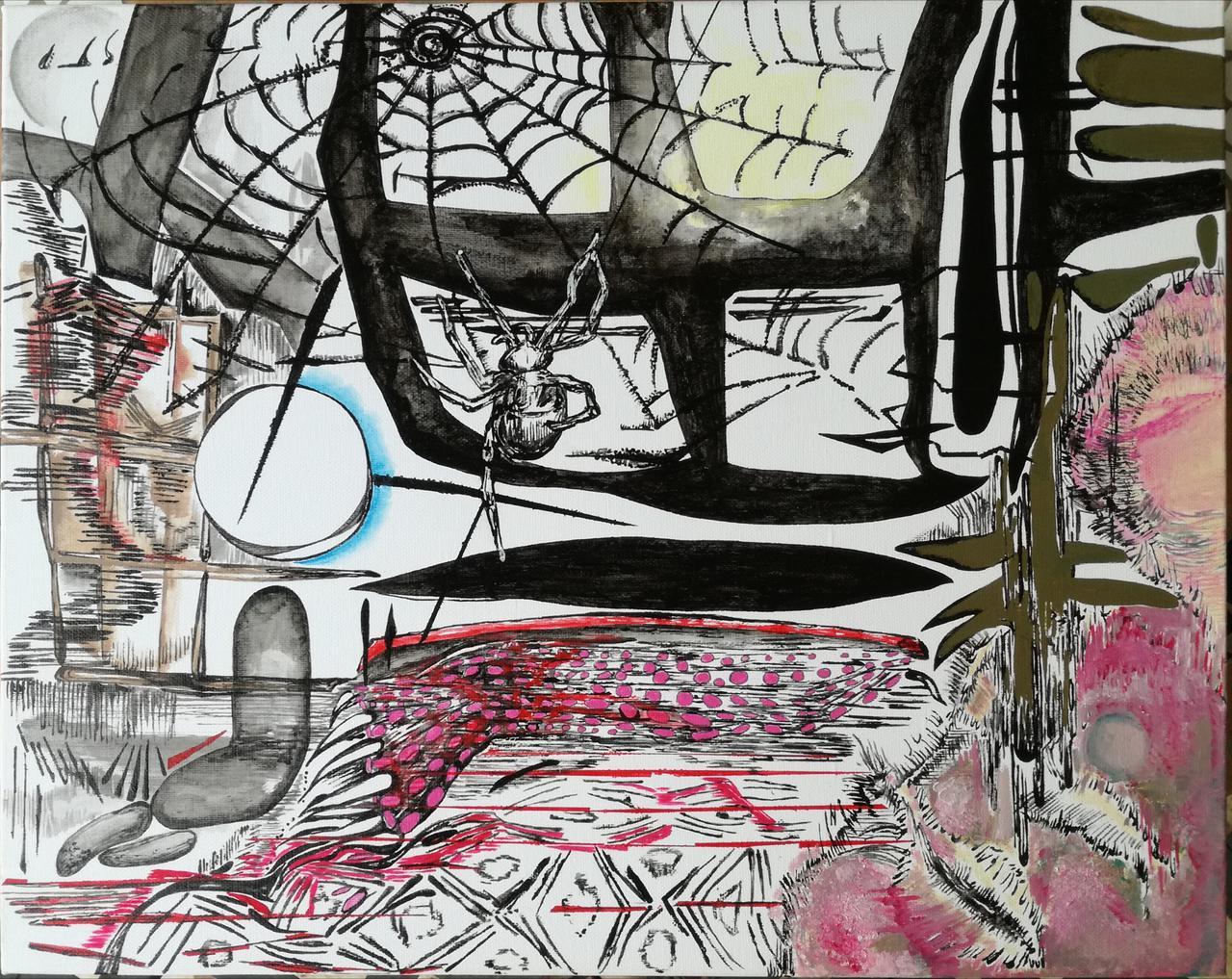 Vana Fertaki, Spider, 40 x 50 cm, varnish and oil on canvas