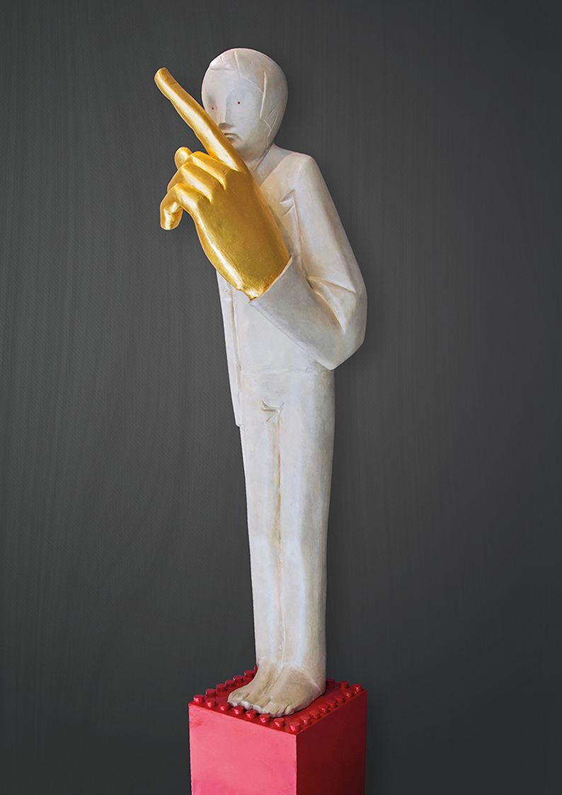 Ivan Lardschneider, Silence is gold, Bronze sculpture, height 82007 cm
