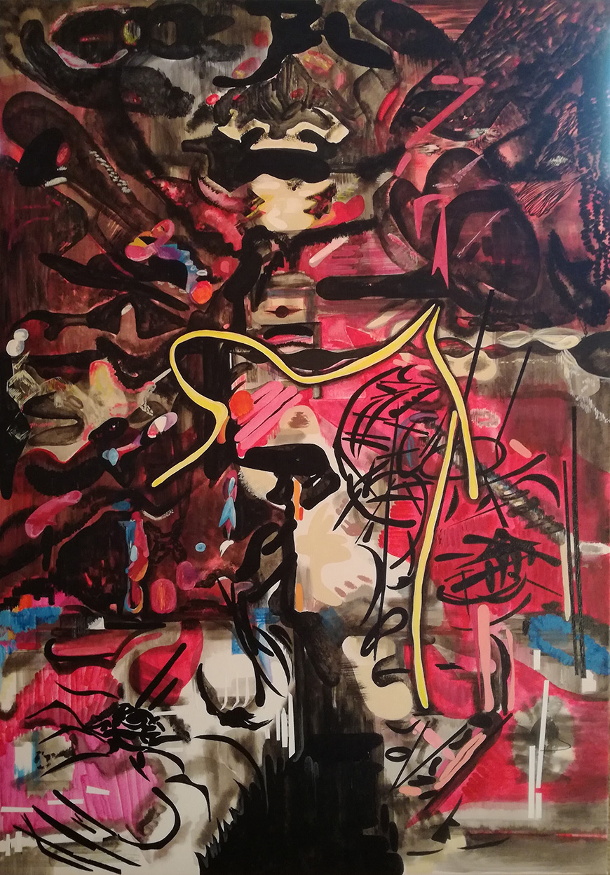 Vana Fertaki, Space, Varnish and oil on canvas, 100x70 cm