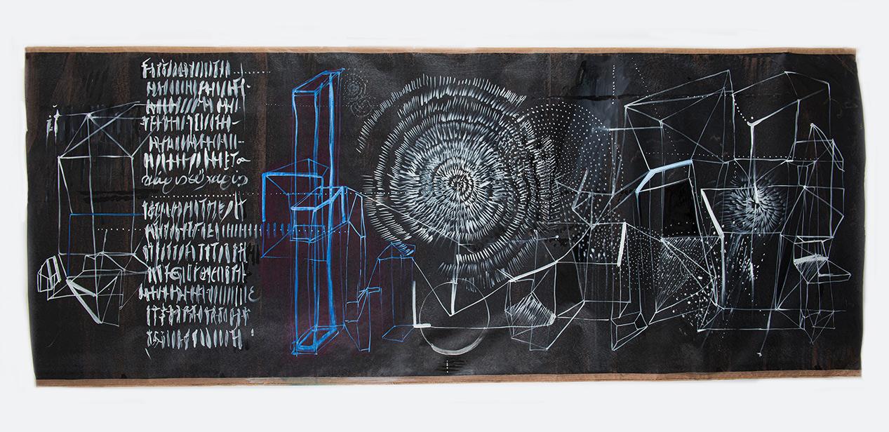 Eleni Zouni, Black board ΙΙΙ, 2019, Ink on tar paper, 102X245 cm