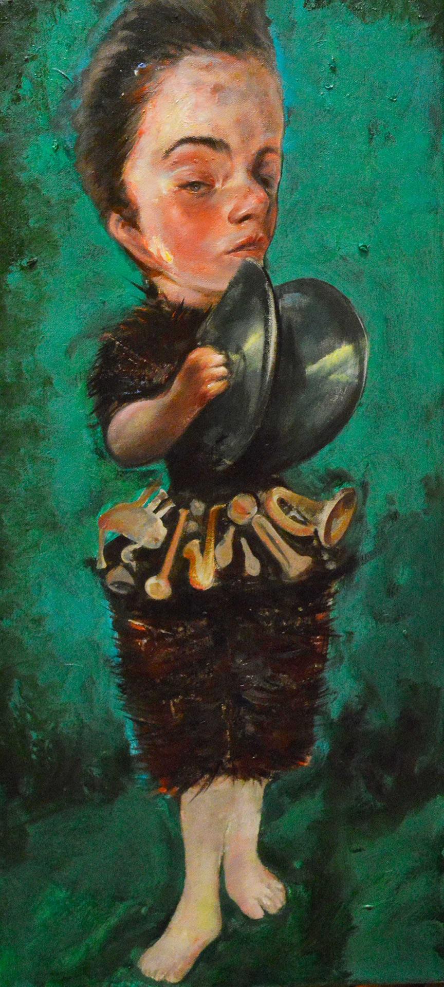 Theofilos Katsipanos, Untitled, 2020, Acrylics and oil on canvas, 70X30 cm