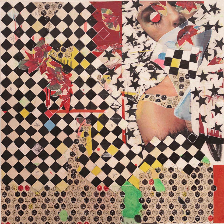 Konstantinos Patsios, L' amour est un oiseau rebelle, 100 x 100 cm, mixed media on canvas, 2019
