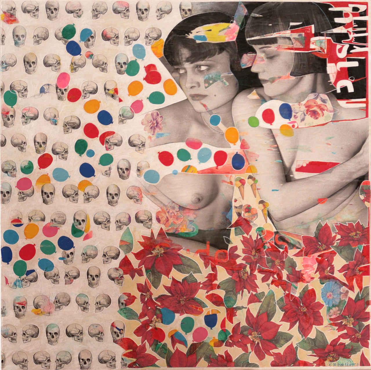 Konstantinos Patsios, She lives on love street, 100 x 100 cm, mixed media on canvas, 2019