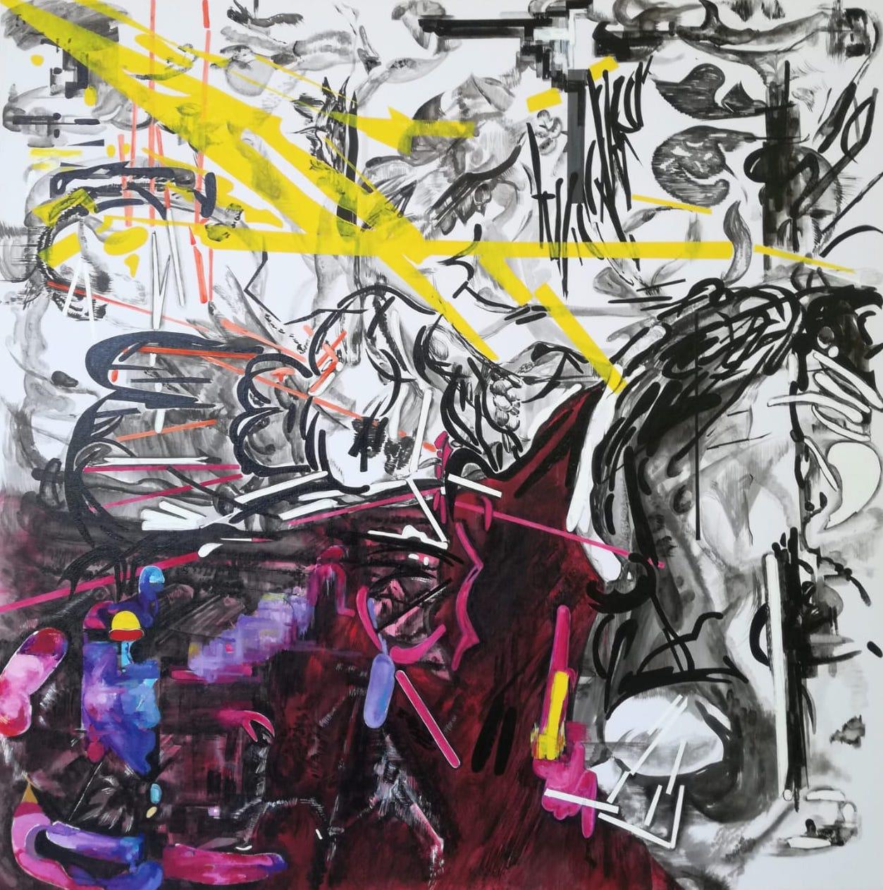 Vana Fertaki Untitled, 2021, acrylics and varnish on canvas, 100 x 100  cm