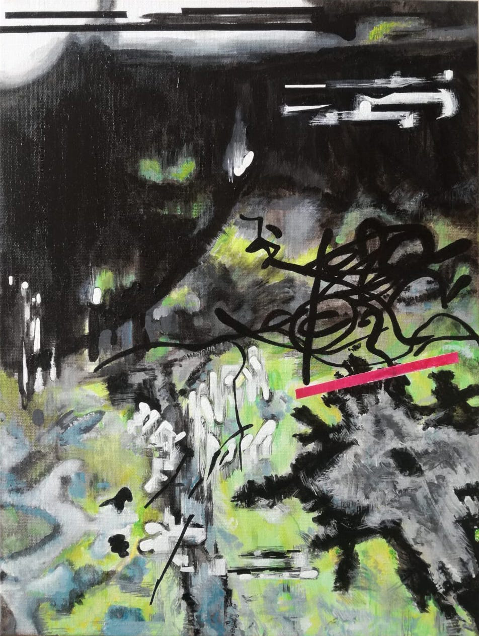 Vana Fertaki Untitled, 2021, acrylics and varnish on canvas, 40 x 30  cm