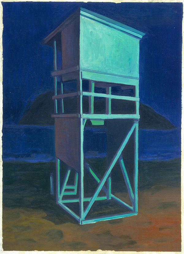 Michalis Kiousis Lifeguard Tower on Blue, 2021, Oils on paper mounted on wood, 30 x 40  cm