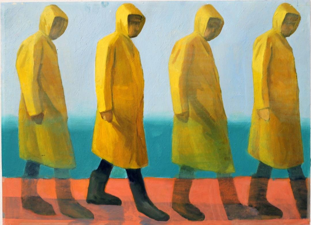 Michalis Kiousis Parapluie Jaune, 2020, Oils on paper mounted on wood, 60 x 40  cm