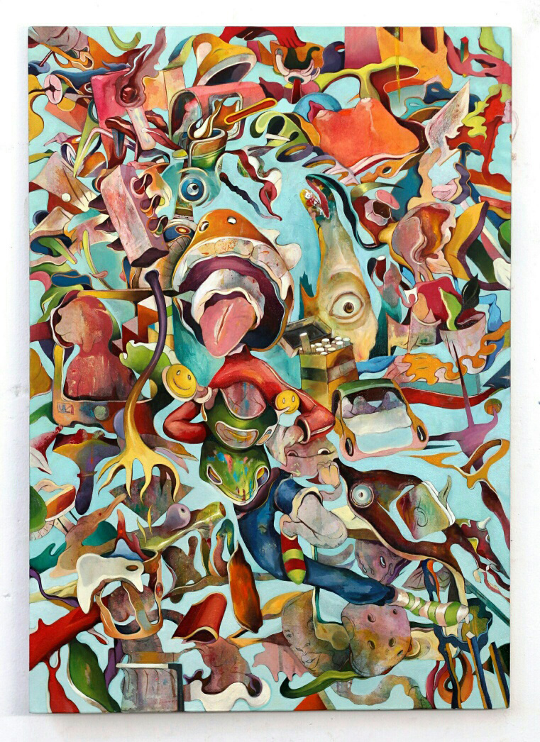 Dimitris Kokoris Fish eye detail, 2020, oils on canvas, 100 x 70 cm