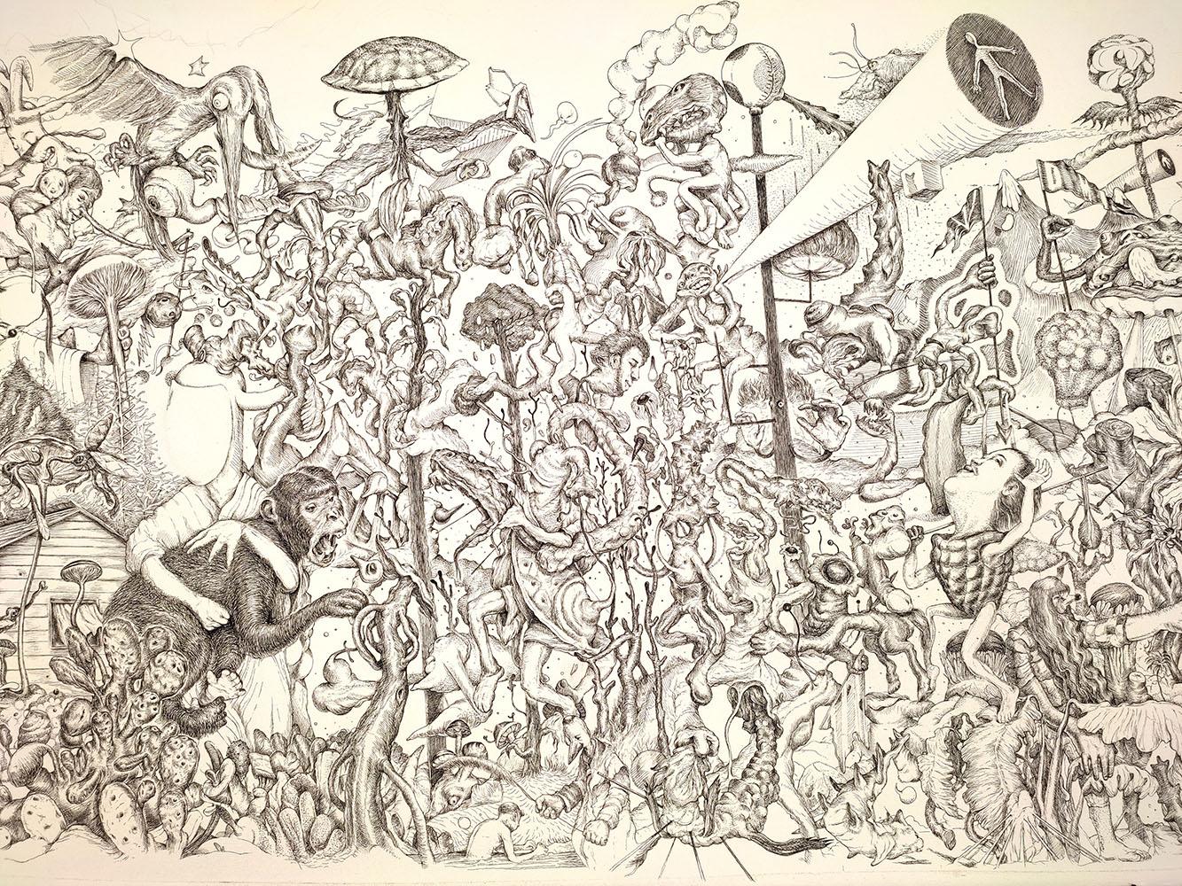 Dimitris Kokoris Nature is Metal, 2021, ink on paper, 80 x 60 cm