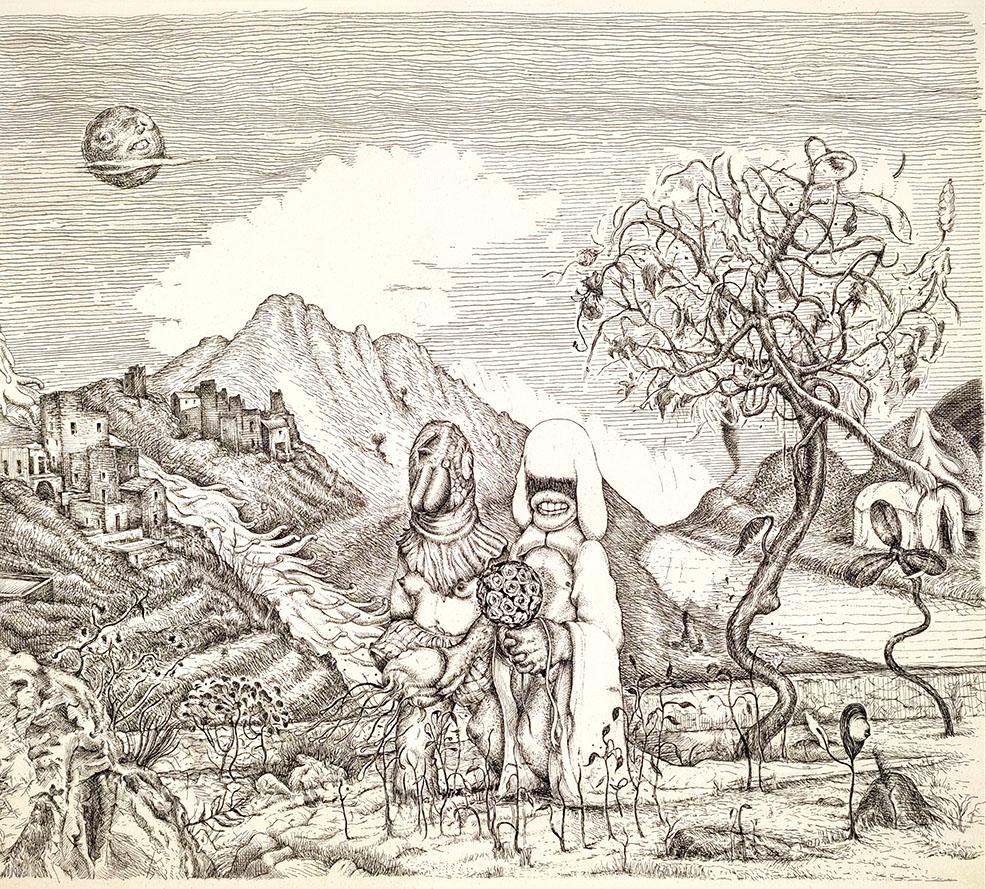 Dimitris Kokoris The Wedding, 2021, ink on paper, 40 x 40 cm