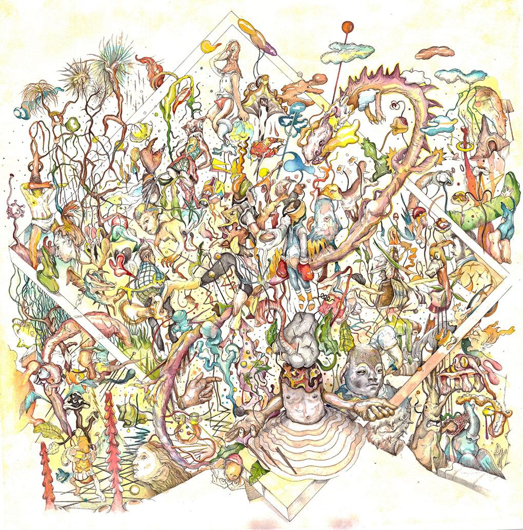 Dimitris Kokoris Visions, 2020, ink and watercolor on paper, 50 x 50 cm