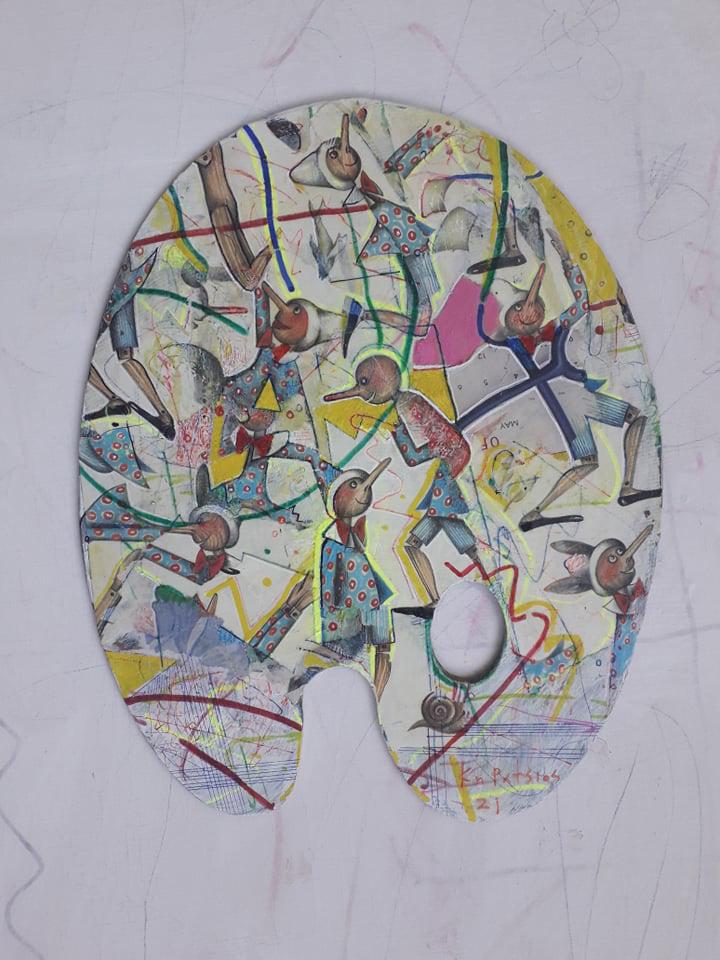Konstantinos Patsios Raphael had a big nose, 2021, mixed media on canvas, 30 x 40 cm