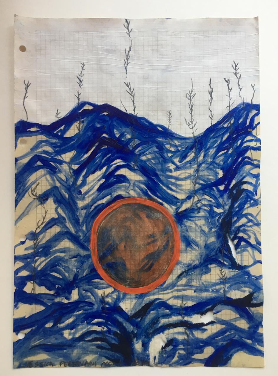 Jessica Fertonani Cooke, Eclipse 2, 21 x 30 cm, acrylic, pencil and oil on graph paper
