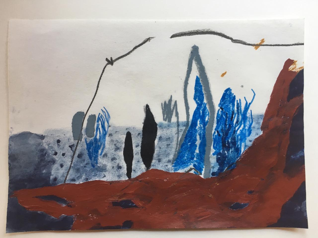 Jessica Fertonani Cooke, Occupied Landscapes 3, 21 x 30 cm, acrylic pencil and oil pastel on paper