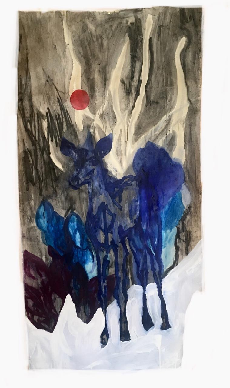 Jessica Fertonani Cooke, Blue deer, 93 x 180 cm, acrylic oil, charcoal and watercolor on paper
