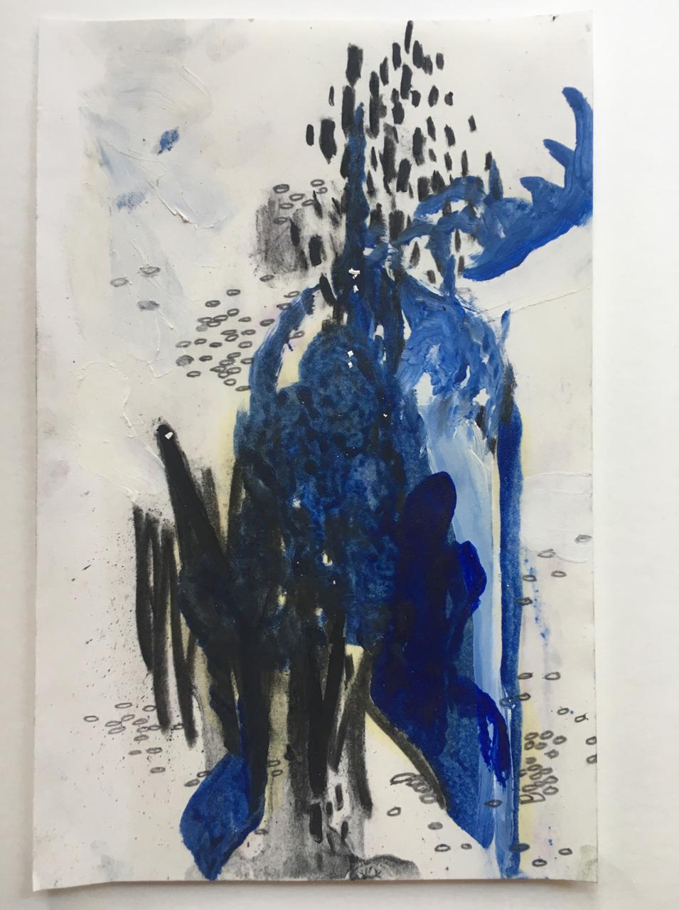 Jessica Fertonani Cooke, Deer 2, 14 x 22 cm, acrylic, oil, charcoal and pencil on paper