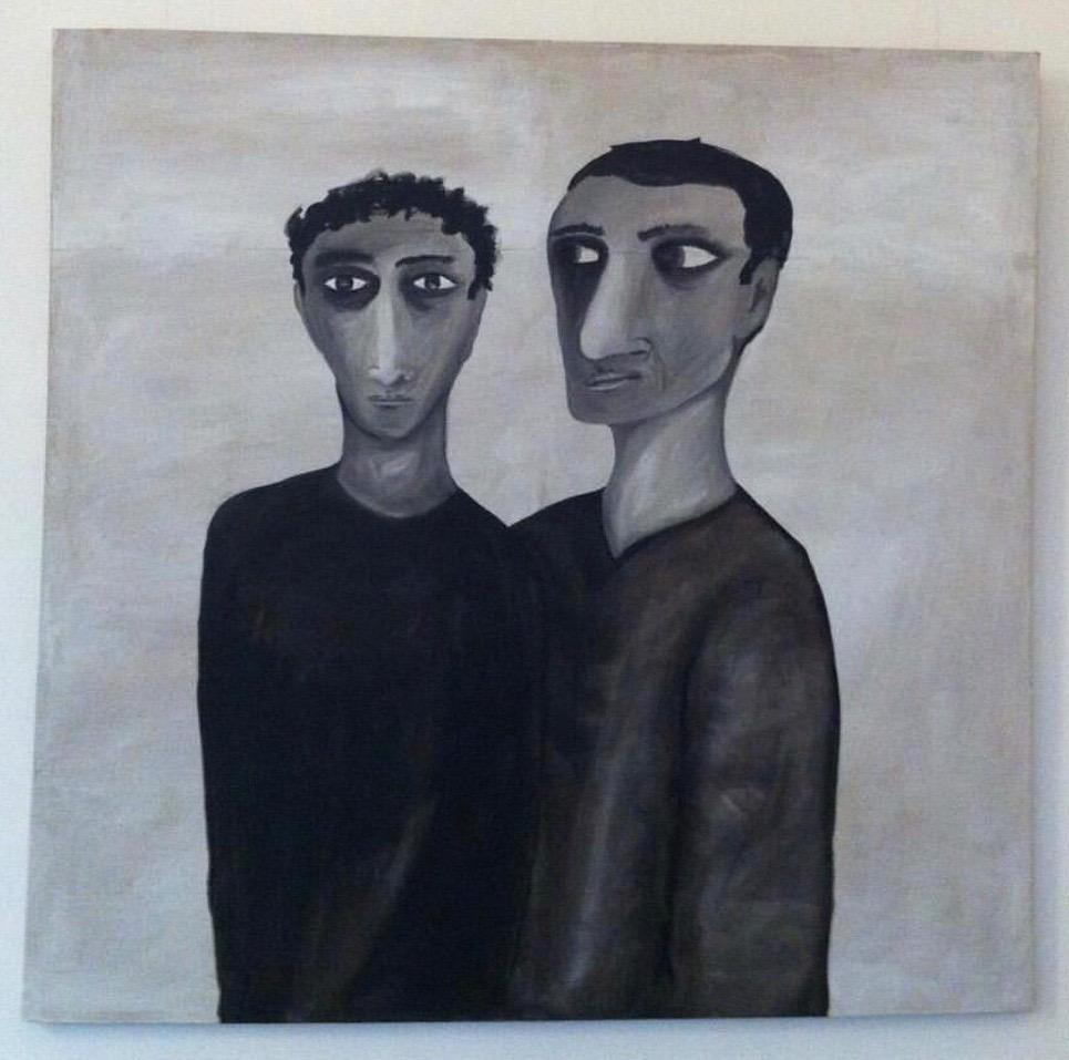 Marlon Bosherz, Two figures, 200 x 200 cm, acrylic and oil on canvas