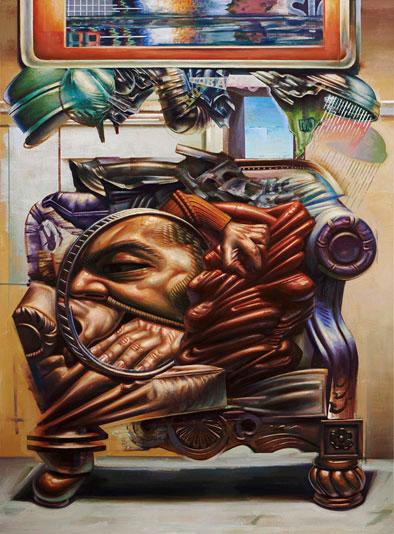 Me vs The Blob acrylic on linen 190 x 140 cm, 2014