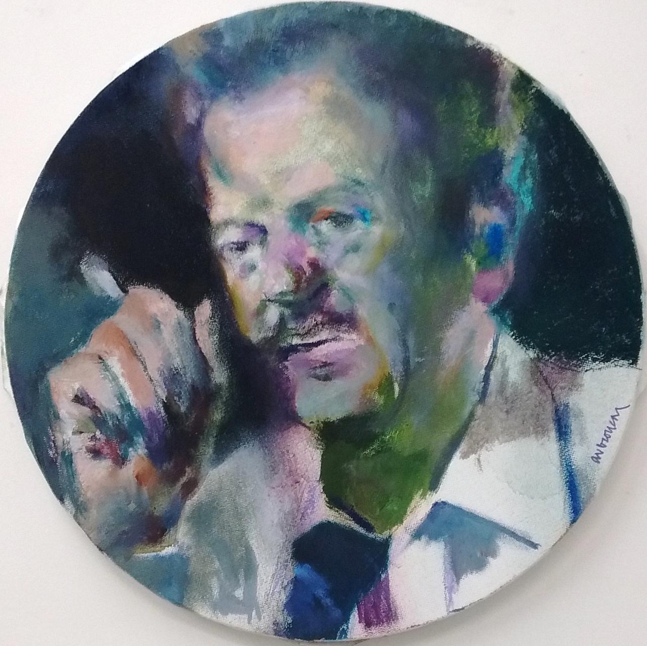 Alexandros Veroukas, Vassiis Tsitsanis, oil on canvas, 40 x 40 cm, 2015
