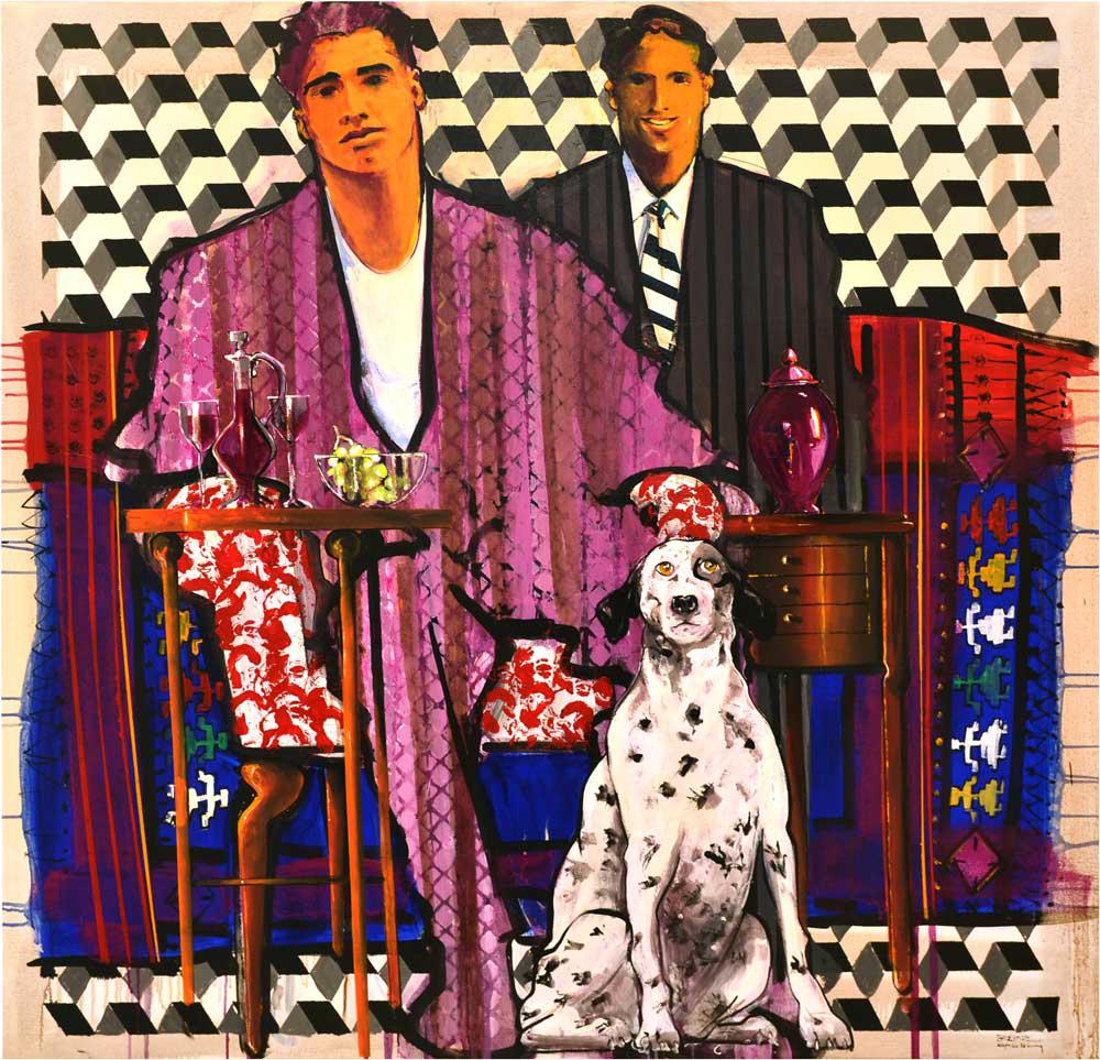 Carpets 2, Mr. Cemal Abd Al Aziz's portrait, at his office in Dubrovnik-Croatia, with Danylko and the dog Roko  acrylic, gouache & oil on canvas, 140 x 140 cm, 2016