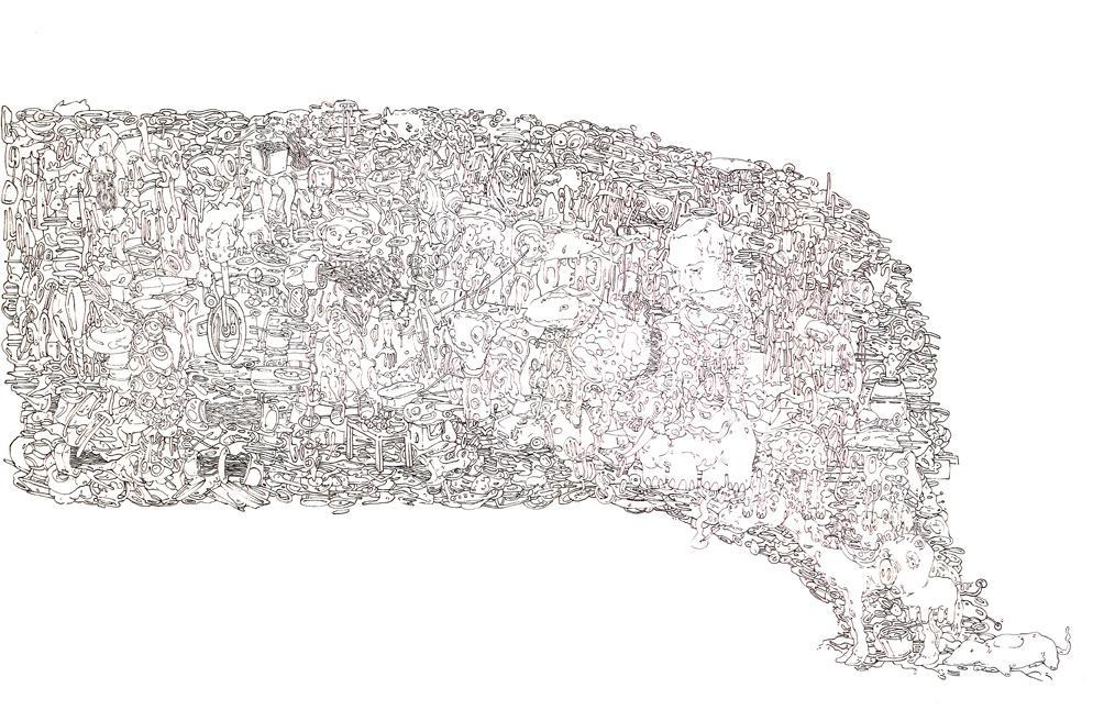 Dimitris Kokoris, The Fish, ballpoint on paper, 50 x 70 cm, 2014