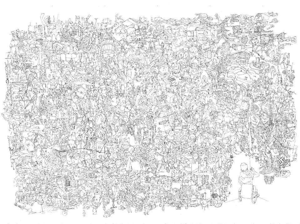 Dimitris Kokoris, Untitled, ballpoint on paper, 50 x 70 cm, 2014