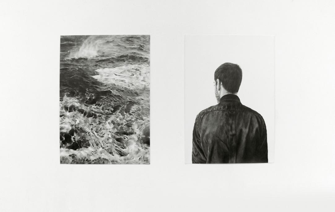 Nicolas Paradiselo, Diptych And Finally He Was The Water, pencil on paper, dimensions variable, 2014