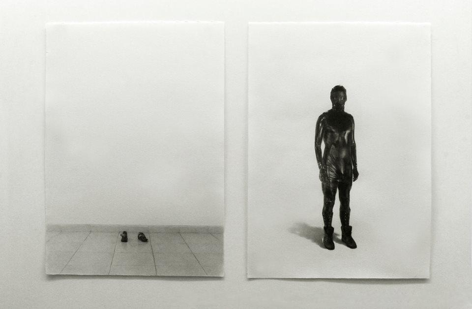 Nicolas Paradiselo, Diptych My Mother Said It Would Be Ok, pencil on paper, dimensions variable, 2016