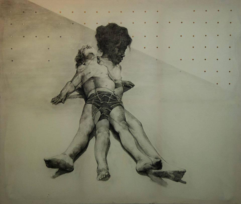 Spyros Prokopiou, Cuprum-Less, charcoal and pencil on canvas, 200 x 170 cm 2014