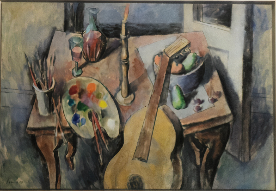 Still life with guitar and fruit, acrylics on canvas, 75x108 cm