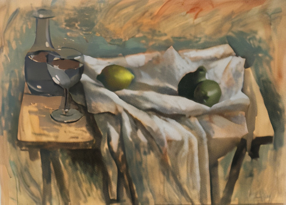Still life with pears and wine, acrylics on canvas, 63x90 cm