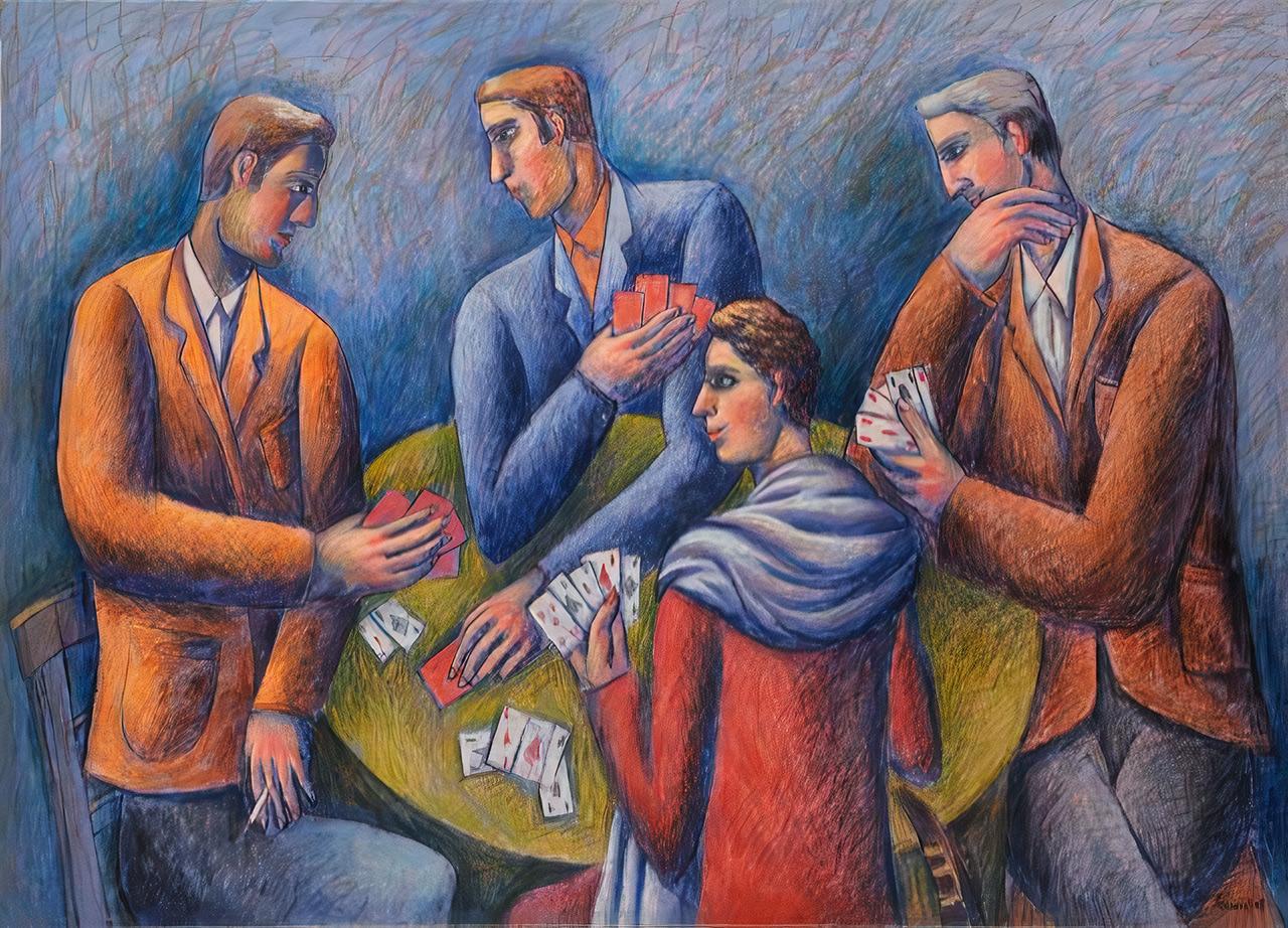 The Card Players, acrylics on canvas, 85x120 cm