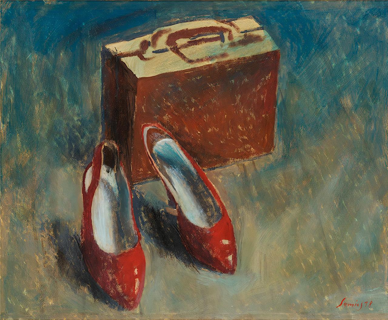 The Suitcase, acrylics on canvas, 45x45 cm